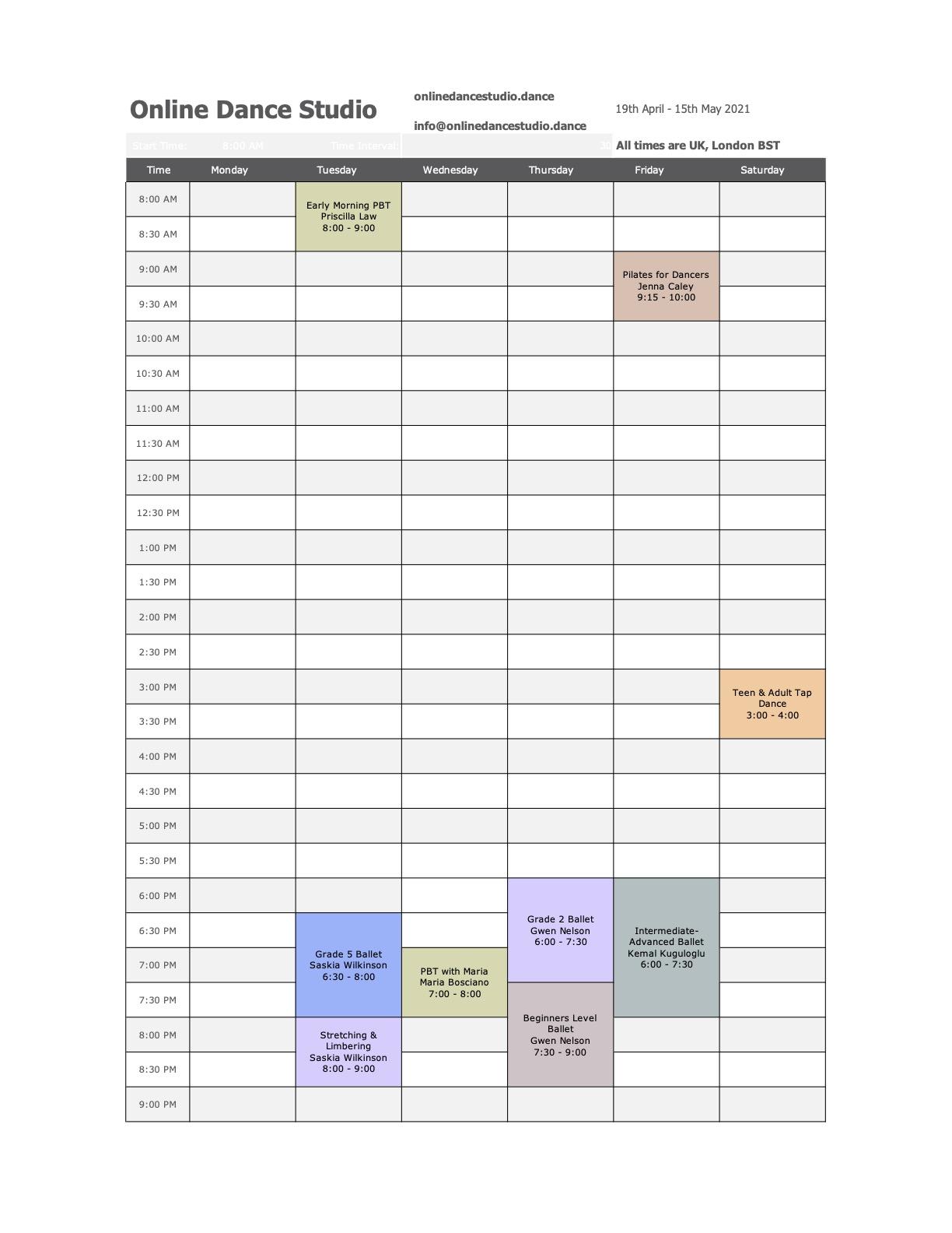 online dance studio - timetable